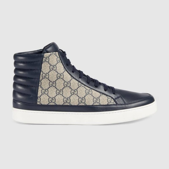 2e89772bad3f09 Gucci Shoes | Gg Supreme Hightop Sneaker Blue Size 10 | Poshmark